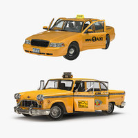 3D nyc checker cab rigged