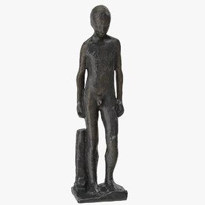 bronze boy figure 3D