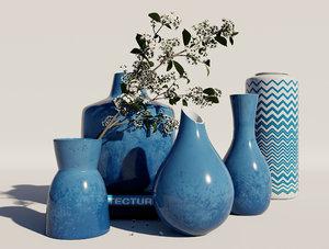 blue vases 3D model
