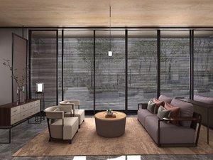 3D model lounge area