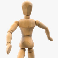 Small Wooden Dummy Doll Rigged for Maya