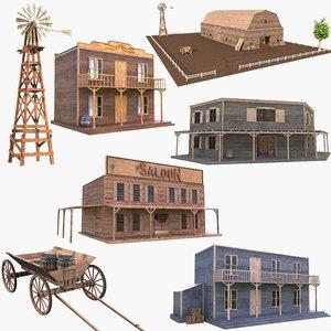 3D wild west house western saloon