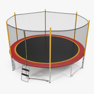 3D model trampoline safety enclosure