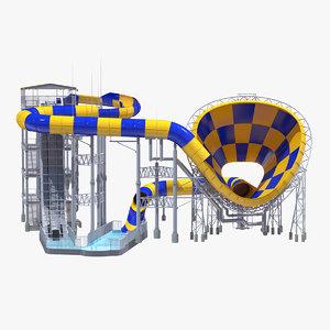 3D abyss funnel water slide model