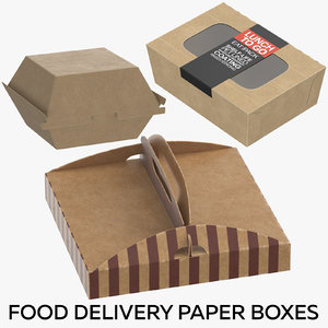 food delivery paper boxes 3D model