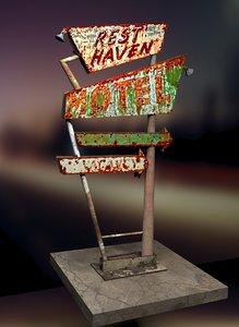 weathered motel sign 3D model