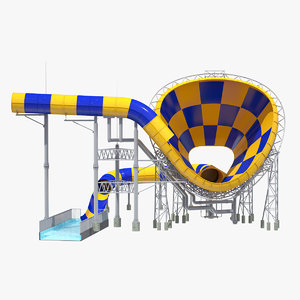 3D giant funnel waterslide water slide model