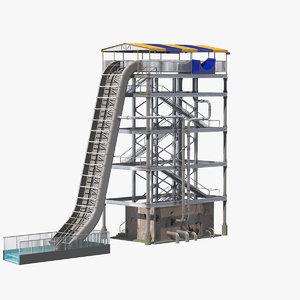 3D model tall water slide