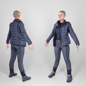 photogrammetry animation ready woman 3D model