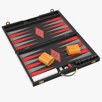 black backgammon board set 3D model