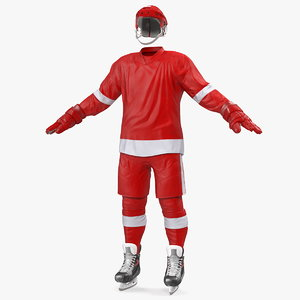 3D hockey red equipment model