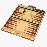 3D wooden backgammon board set model
