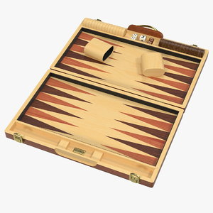3D wooden backgammon board set model