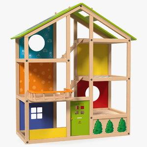 seasons kids wooden dollhouse 3D