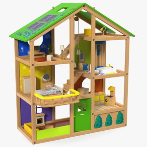 3D wooden dollhouse furnished doll