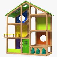 wooden dollhouse doll wood house 3D model