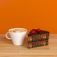 cake and cappucinno