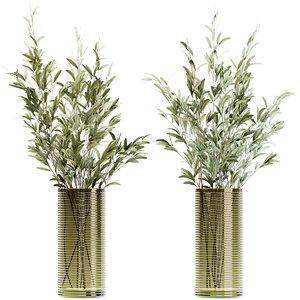 olive stems green glass 3D model