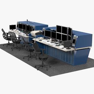 office workstation set model