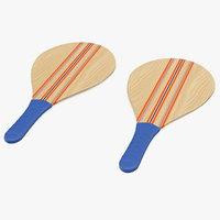 wooden frescobol rackets 3D