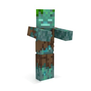 3D minecraft drowned