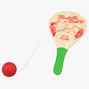 3D wooden paddle ball model