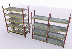 3D industrial shelves