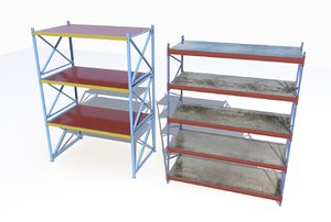 industrial shelves 3D