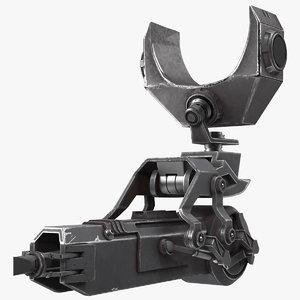 3D sci-fi harpoon gun model