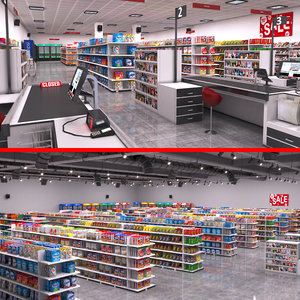 3D model supermarket store shopping