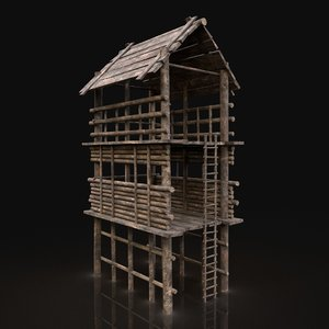 3D gen aaa wooden watchtower