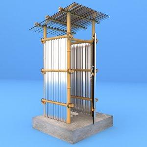 3D model old village bathroom