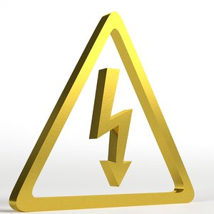 voltage electric shock symbol 3D