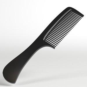 3D hair comb handle model