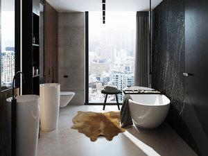 3D model interior bath bathroom