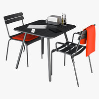 chair table cafe 3D model