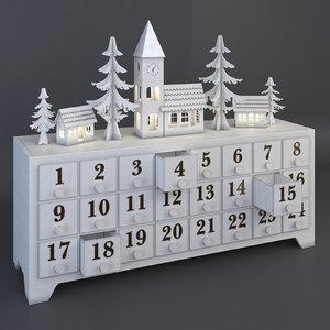 wooden advent calendar drawers model