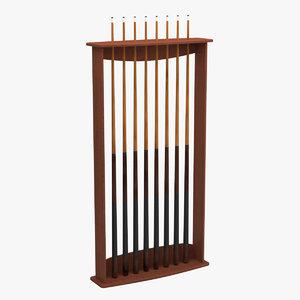 billiard stick rack 01 3D model