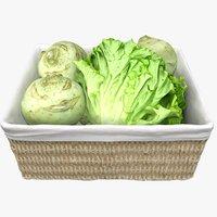 3D wicker basket salad cabbage model