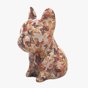 3D french bulldog statue