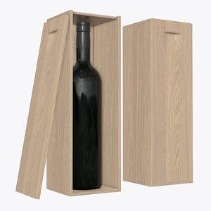 3D wine wooden bottle