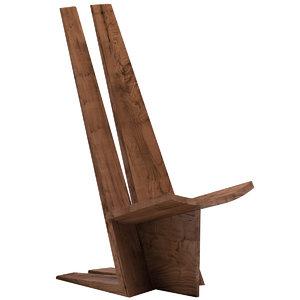 3D chair 129 handcrafted sculptural