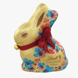 3D lindt chocolate bunny 001 model