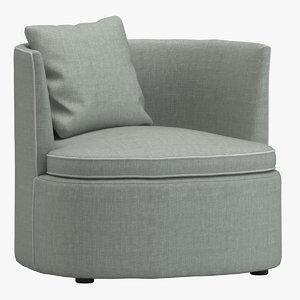 3D model lobby bessie armchair