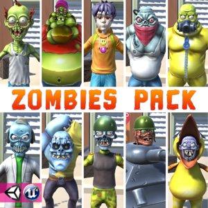 cartoon zombie pack unity model