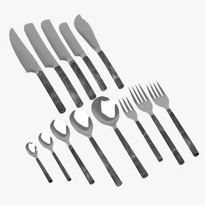 3D rangthong flatware cutlery model