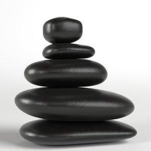 3D japanese meditation stones model