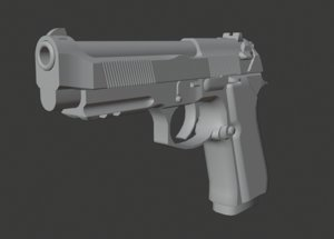 3D model weapon ready 9mm