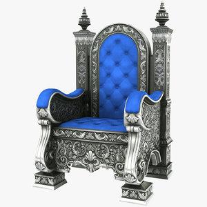 3D silver throne