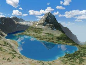 3D landscape bearhat mountain glacier